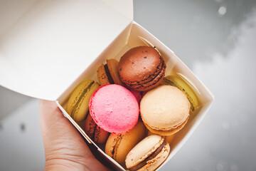macarons in a takeaway box