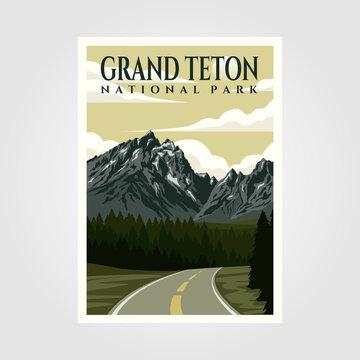 grand teton national park vintage poster illustration design, travel poster design