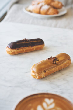 eclairs and coffee