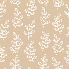 Vector seamless floral pattern with hand drawn small branches. Cute simple design for wallpaper, fabric, textile, wrapping paper