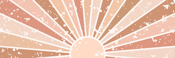 Vector long horizontal background with sun and shining rays, sunburst. Grunge, scratched texture. Retro style backdrop