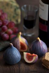 fresh figs, port, stilton and grapes