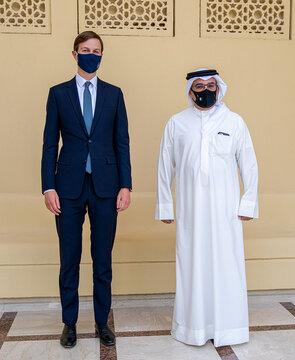 U.S. President's senior adviser, Jared Kushner (L) and Bahrain's Crown Prince Salman bin Hamad Al Khalifa (R) pose for a press photo, during Kushner's visit to Manama, Bahrain