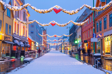 Christmas Decorations in Center street In Tromso, Norway,