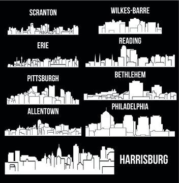 Set of 9 city in Pennsylvania ( Harrisburg, Pittsburgh, Philadelphia, Allentown, Erie, Bethlehem, Scranton, Reading, Wilkes-Barre )