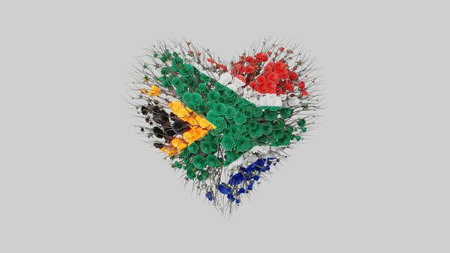 South Africa National Day. April 27. Freedom Day. Heart shape ma