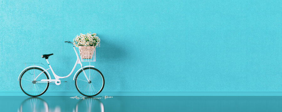 White bicycle with a flower basket. Travel concept on blue background 3D render 3D illustration