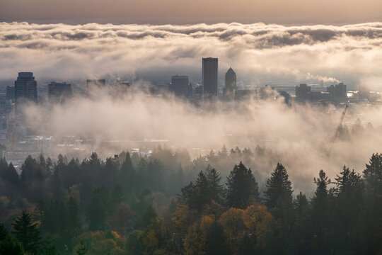 Moody misty Portland downtown with rolling fog and autumn foliage