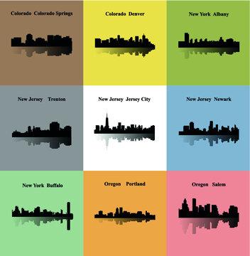 Trenton, Jersey City, Newark, Portland, Salem, Albany, Buffalo, Colorado Springs, Denver (Set of 9 CIty)