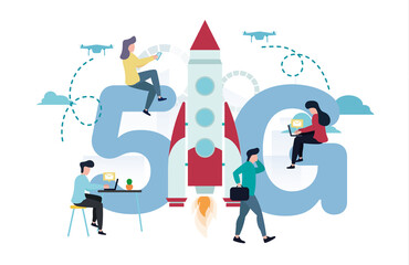 Vector illustration of 5G internet. A man with a laptop at the table, another with a briefcase is walking next to the rocket, women are sitting on a 5G sign, against the background of quadcopters