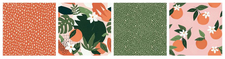 Photo sur Plexiglas Artificiel Collage contemporary orange floral and polka dot shapes seamless pattern set.
