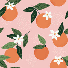 Fototapeta Tropical seamless pattern with oranges on a pink background. Fruit repeated background. Vector bright print for fabric or wallpaper. obraz