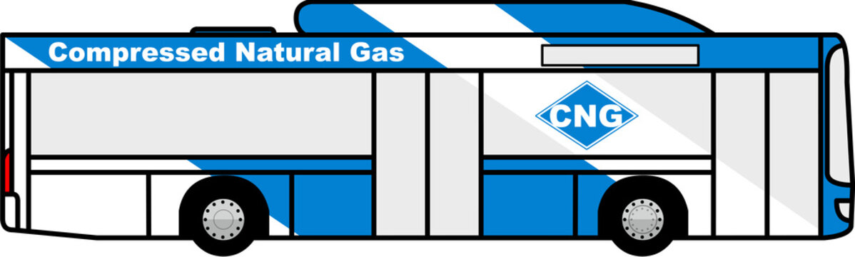 bus - CNG - compressed natural gas - fuel - city transport - city - transport - public transportation - icon - vector - isolated - 4x2 - right side - alternative