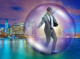 The businessman flying inside the bubble