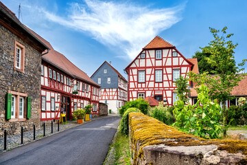 Cityscape of the idyllic old town Lich in der Wetterau, Germany