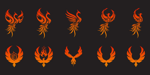 Set of Phoenix Flying Fire Bird abstract Logo design vector template. Dove Eagle Logotype concept icon