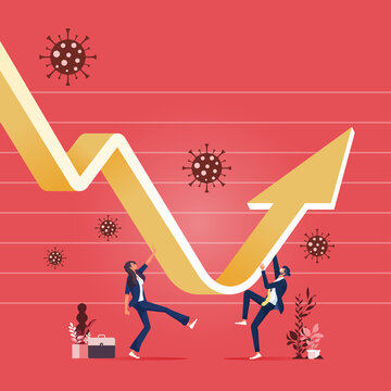 Economic recovery concept-Businessman to recovery financial crisis