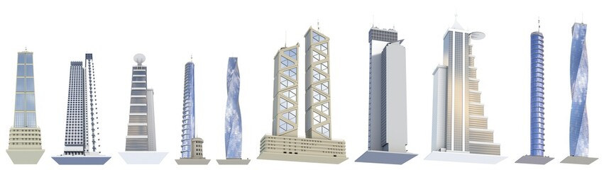Set of high detailed commercial buildings with fictional design and cloudy sky reflection - isolated, different sides view 3d illustration of skyscrapers