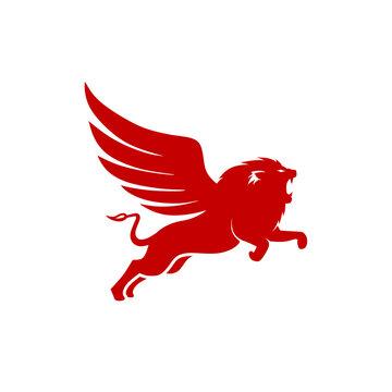 unique combination lion and wing logo inspiration