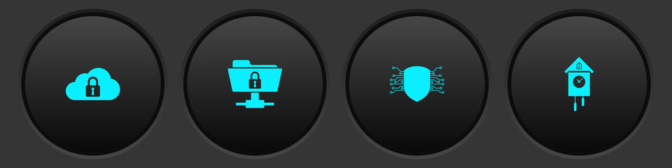 Set Cloud computing lock, FTP folder and, Cyber security and Retro wall watch icon. Vector.