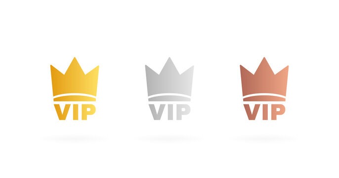 Set VIP badges in gold, silver and bronze color. Crown label with three vip level. Modern vector illustration