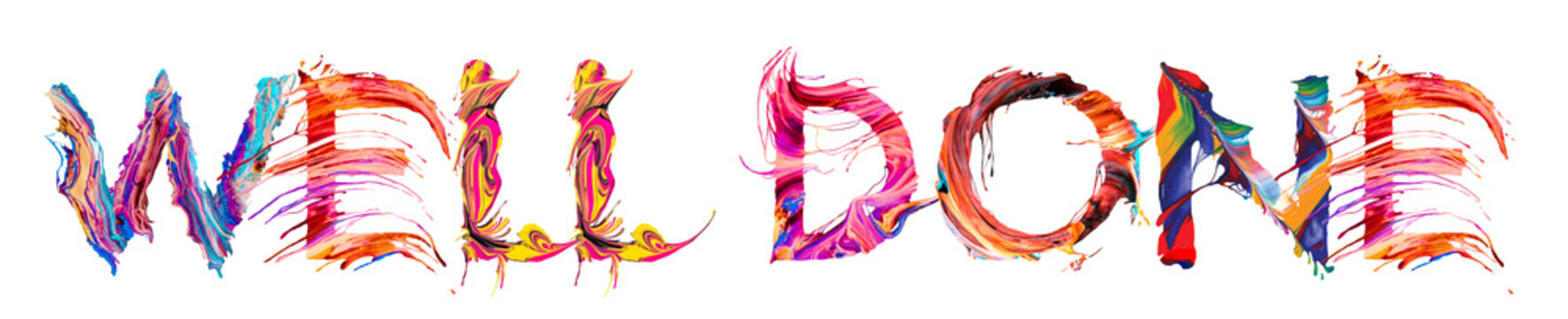 well done - colorful paint brush letter
