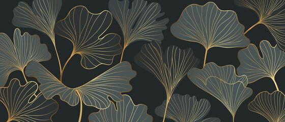 Golden Ginkgo leaves background vector. Luxury Floral art deco. Gold natural pattern design Vector illustration. - 375321098