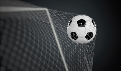 Goal - soccer or football ball in the net. 3D rendered illustration.