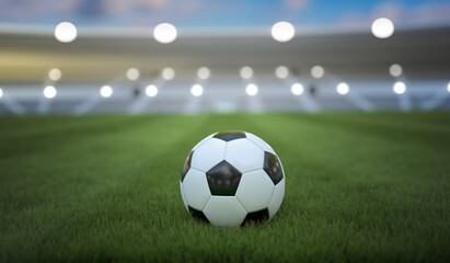 Soccer or football ball on stadium. 3D rendered illustration.