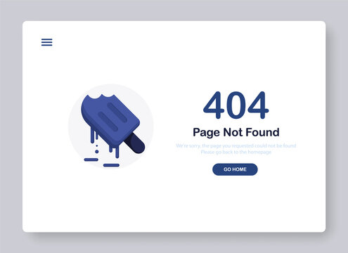 404 error page not found banner. System error, broken page. Melting ice cream or frozen juice, dessert. Popping window for website. Web Template. Blue. Eps 10
