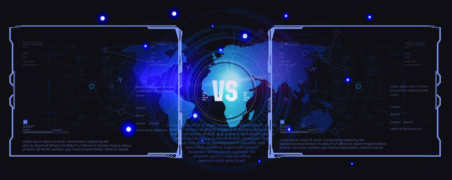 Fight card template in futuristic design with HUD elements. VS, Versus. Futuristic abstract background. User interface for video games. Confrontation screen. Concept background
