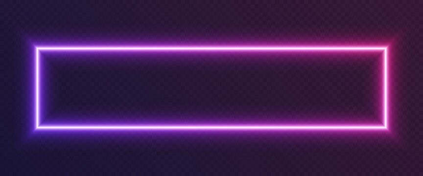 Neon gradient rectangular frame, blue-pink glowing border isolated on a dark background. Colorful night banner, bright illuminated shape, cyberpunk style vector light effect.
