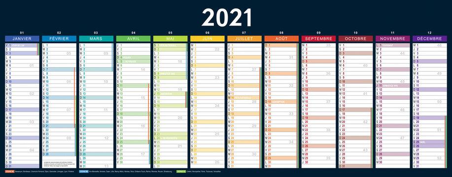 CALENDRIER 2021 français vectorisé, vierge (535x210mm recto) jours fériés, vacances, 11 calques, Ech.1