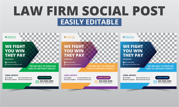 Lawyer social media post design vector digital marketing for law firms. Modern geometric consult instagram post template editable & attorney social media layout square web banner with photo collage.