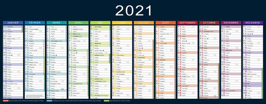 CALENDRIER 2021 français modifiabe (base pour 535x210mm recto) lunes, fêtes, fériés, vac,… typo arial narrow vectorisé et non vecto., 19 calques, Ech.1, ajouter un débord