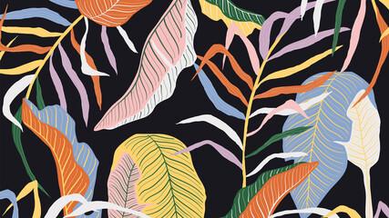 Luxury golden art deco wallpaper. Nature background vector. Floral pattern with golden split-leaf Philodendron plant with monstera plant line art on dark color background. Vector illustration.