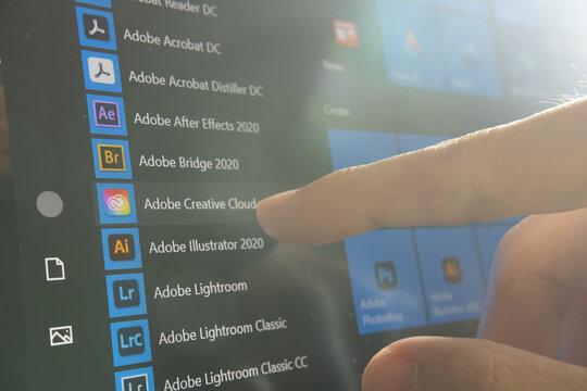 Bangkok, Thailand - September 1, 2020 : Adobe Creative Cloud app icons on Microsoft Windows 10.