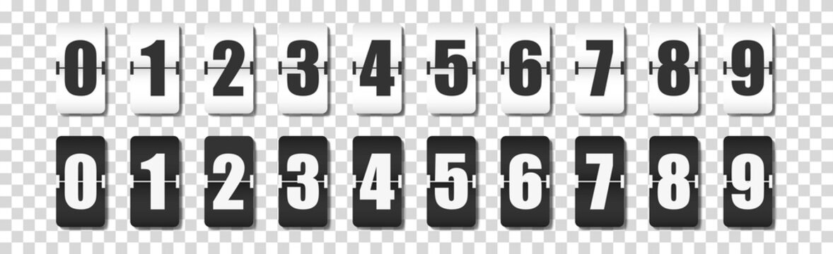 Countdown numbers flip counter, retro style flip clock or scoreboard mechanical numbers 0 to 9 set