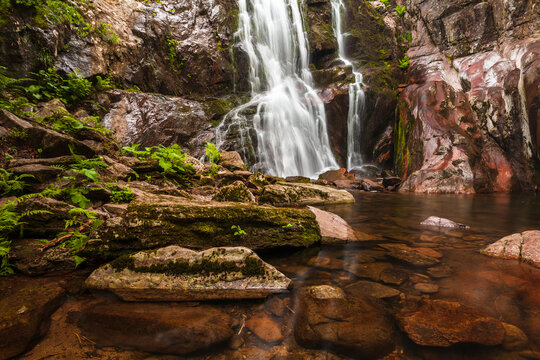 River stream flows across canyon