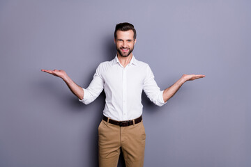 Foto auf Leinwand Vogel auf Asten Portrait of positive cheerful man real estate agent economist chief hold hand recommend choose decide choice decisions wear white shirt trousers isolated over gray color background