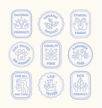 Set of blue ecology logos or labels for paraben and cruelty free, natural and organic, eco, and lab tested not on animals, colored vector illustration