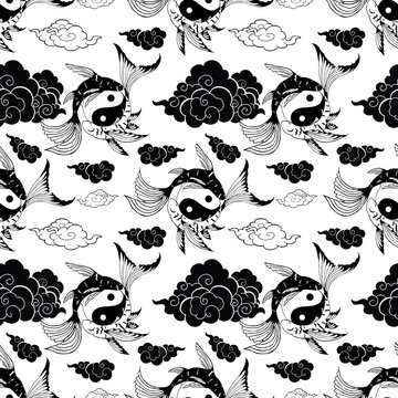Yin yang fish pattern  illustration for tattoo  and background with isolate white background