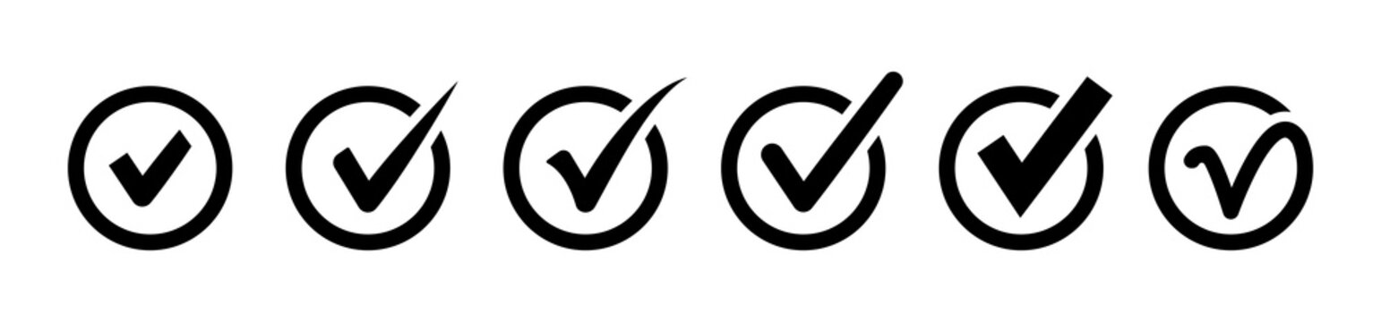 Check mark icons. Set of checkmark. Approval icon. Check marks symbol collection. Approval symbols in flat style. Vector