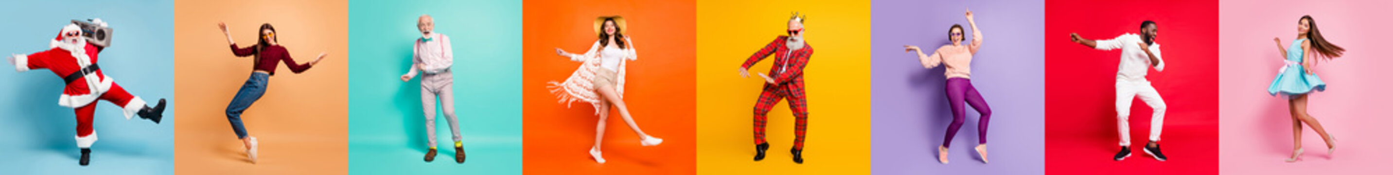 Multiple montage full body collage eight excited people different age race ladies guys good mood friendship free time rejoicing fall winter spring summer vibes disco isolated colorful background