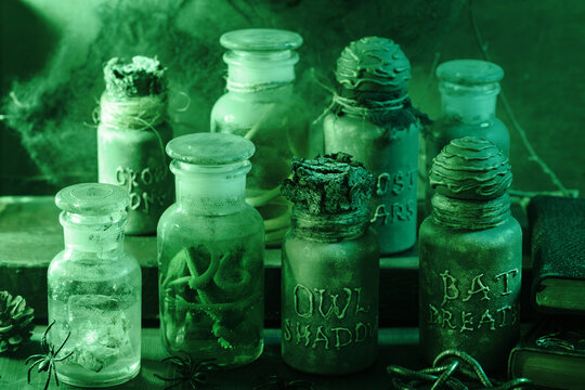 witch apothecary jars magic potions halloween decoration