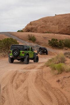 MOAB, UNITED STATES - Aug 02, 2020: Jeep Crawling in Moab, Utah