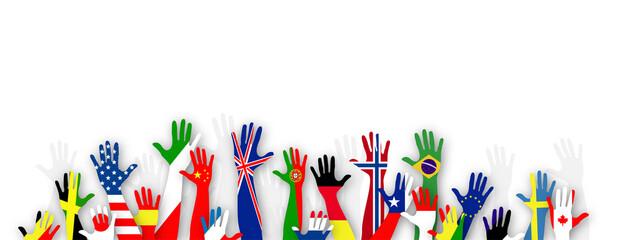 mani, bandiere, lingue, lingue del mondo