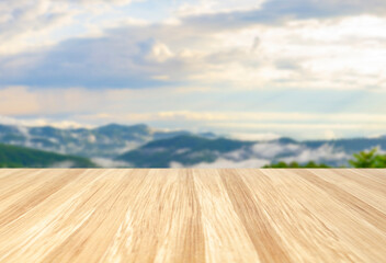 Empty wooden table and white interior background