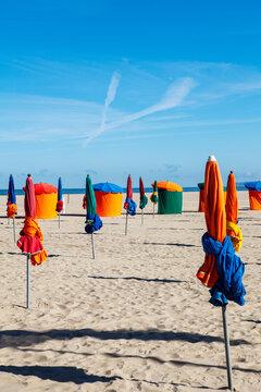 umbrellas on the beach of Deauville