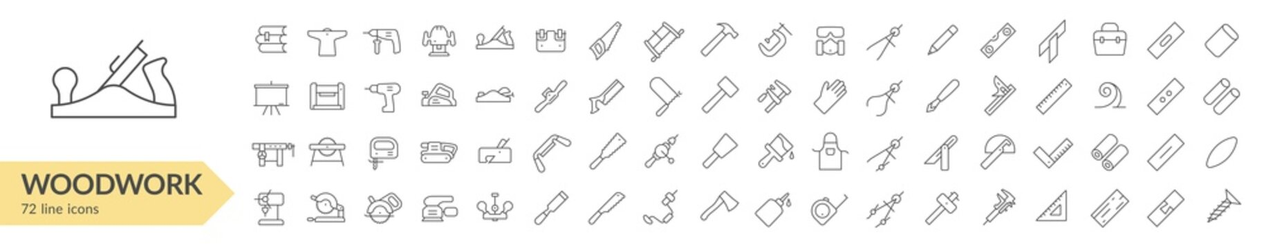 Woodwork tools line icon set. Isolated signs on white background. Vector illustration. Collection